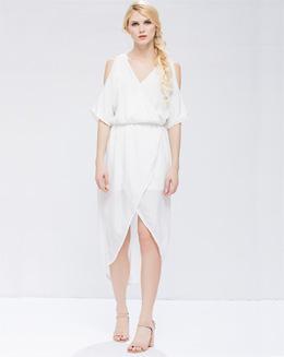 中长款性感开叉前短后长收腰纯白女裙