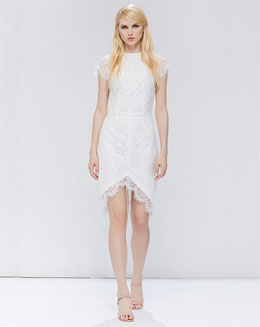 长款短袖修身白色女裙