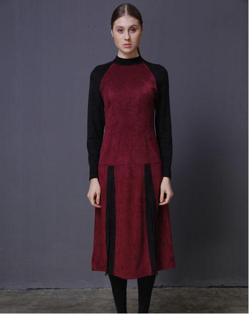 秋季新款长袖圆领撞色连衣裙