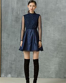 蕾丝圆领高腰有袖连衣裙