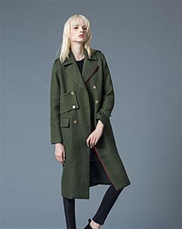 秋冬修身长袖纯色毛呢外套长款大衣