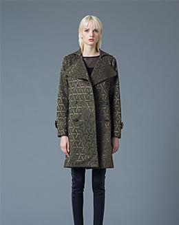 新款女装中长款宽松几何纹加厚保暖风衣