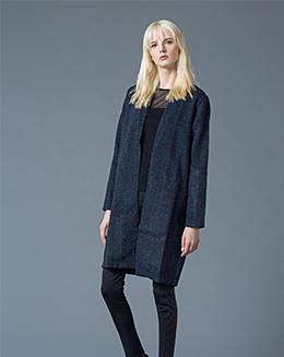 秋冬新款女装时尚大牌气质无扣毛呢大衣中长款外套