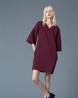 新款纯色七分袖小V领直筒连衣裙H型女裙