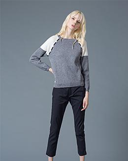 秋冬新款宽松圆领长袖羊毛衫保暖撞色针织毛衣