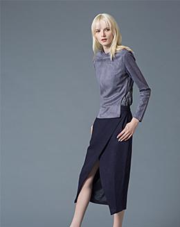 秋冬新款半身裙两件套长袖蛇鳞花纹