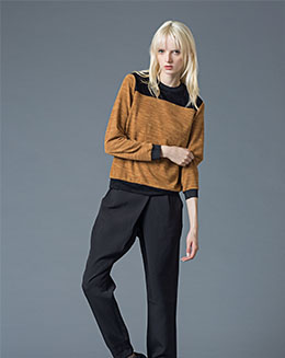 秋冬款打底显瘦修身针织纯棉撞色长袖保暖女上衣
