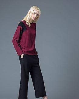冬季新款时尚潮流拼接宽松休闲百搭打底上衣长袖雪纺衫
