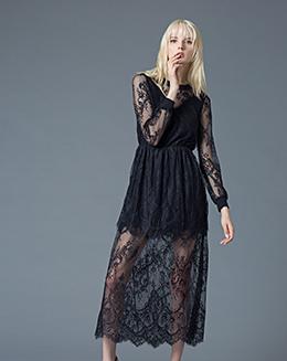 冬季新款女装气质蕾丝百搭修身A子裙中长款连衣裙