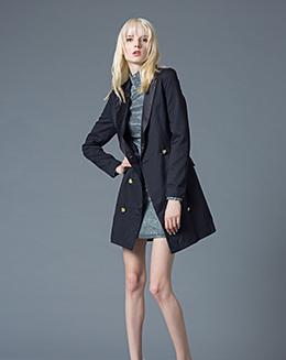 冬季女新款修身西装领呢子中长款大衣
