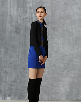 冬季新款中长款小立领长袖弹性拼色修身包臀连衣短裙