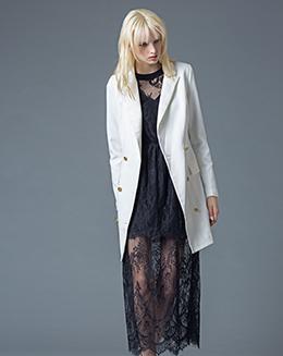 冬季女装新款修身西装领呢子中长款大衣冬季