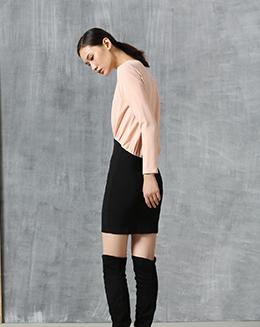 新款时尚拼色长袖修身包臀打底连衣裙