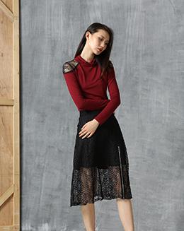 新款女装气质蕾丝拉链百搭修身A字裙中长款半身裙