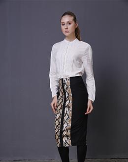 新长款冬季女蛇鳞纹修身直筒一步裙