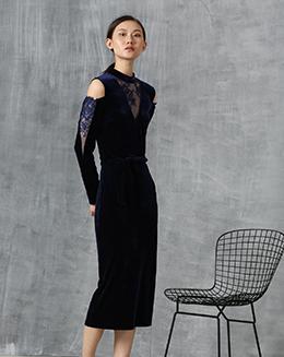 新款蕾丝V领晚会包臀连衣裙