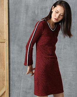 新款针织V领短款连衣裙
