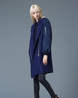 新长款女个性拉链外套