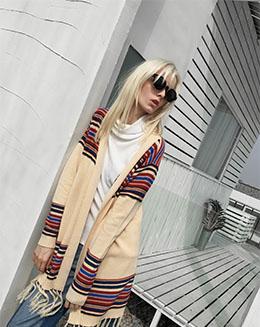 新款中长款流苏披肩条纹长袖针织开衫毛衣女外套