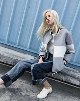 新款宽松短款长袖修身休闲条纹上衣女装外套