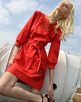 新款七分袖时尚修身腰带绣花打底女连衣裙
