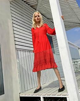新款高腰雪纺拼接蕾丝皱褶中长款连衣裙