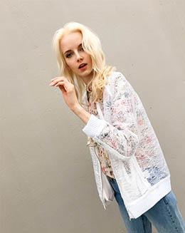 新款女长袖不规则网纱休闲拼接外套开衫