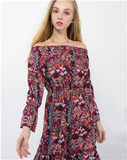 2017春装新款一字肩中长款连衣裙