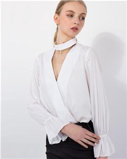 春季欧美风女士宽松白色百搭上衣