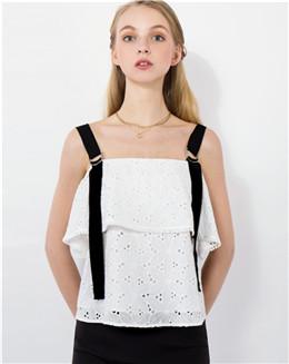 拼接吊带雪纺无袖白色镂空女上衣