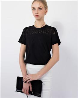 简约时尚黑色蕾丝拼接修身女T恤