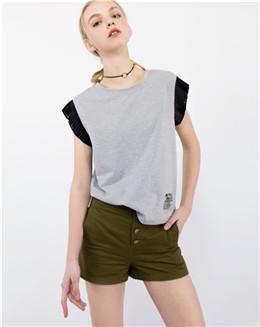 欧美休闲款简约时尚灰色拼接袖T恤