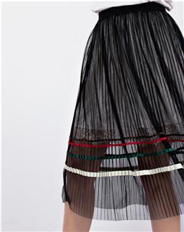 双层透明半身裙个性网纱小黑裙