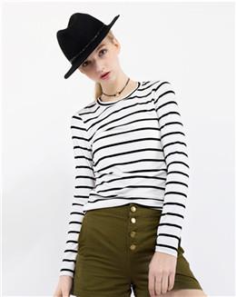 纯棉白色横条长T恤