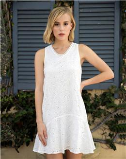 夏季白色休闲无袖连衣裙