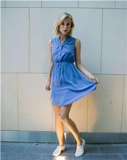 夏季新款V领收腰衬衫式连衣裙