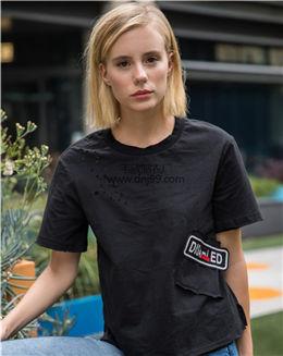 纯色圆领拼接口袋T恤