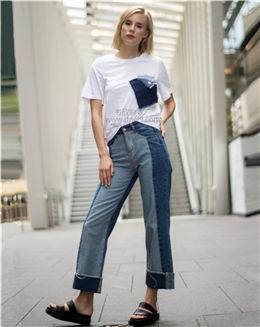 夏季白色拼接口袋休闲T恤