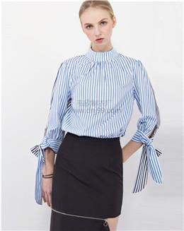 春装新款长袖雪纺蓝色条纹衬衫