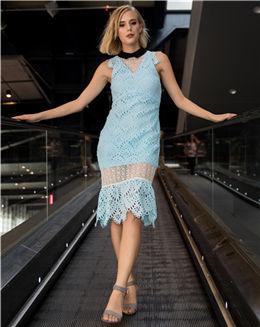 夏季新款拼接式蕾丝连衣裙