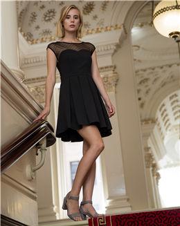 秋季新款黑色蕾丝拼接连衣裙