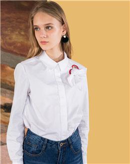 新品纯白色立领女士衬衫