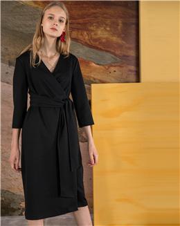 纯色开衫睡袍式七分袖连衣裙
