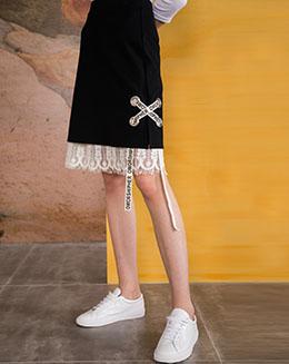 秋季新款中长款蕾丝拼接个性扣眼编织半身裙
