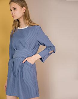 中长裙修身绑带简约风条纹连衣裙