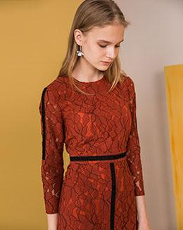 2017新款秋季蕾丝七分袖不规则连衣裙