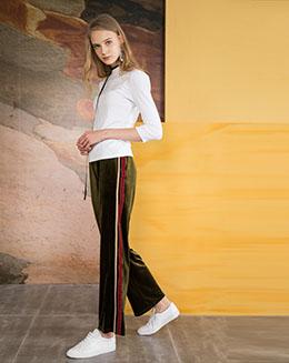 2017欧美秋季新款女装编织条长款运动裤