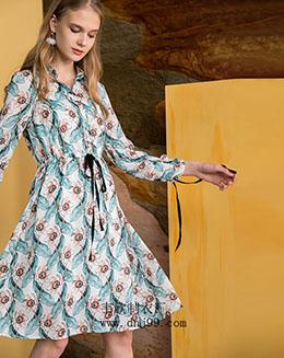 秋季新品印花衬衫系带连衣裙