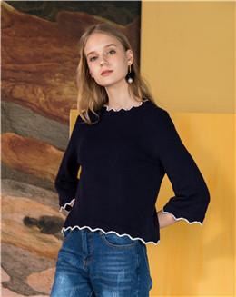 2017新款七分袖短款女式针织衫