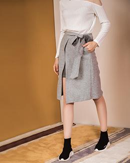 秋冬撞色开叉绑带灰色时尚半身裙